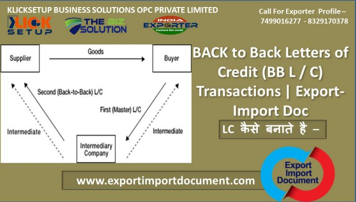 BACK to Back Letters of Credit (BB L / C) Transactions | Export-Import Doc