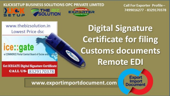 Digital Signature Certificate for filing Customs documents Remote EDI